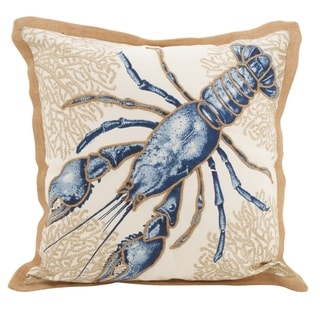 Lobster Down Filled Cotton Throw Pillow