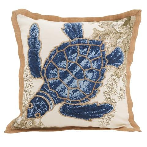 Sea Turtle Down Filled Cotton Throw Pillow