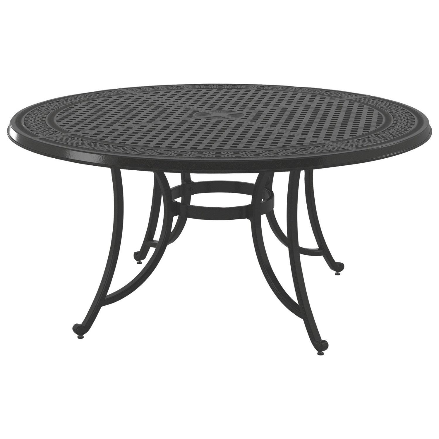 Signature Design By Ashley Burnella Brown Outdoor Large Round Dining Table With Umbrella Option