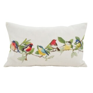 Embroidered Perched Birds Down Filled Throw Pillow