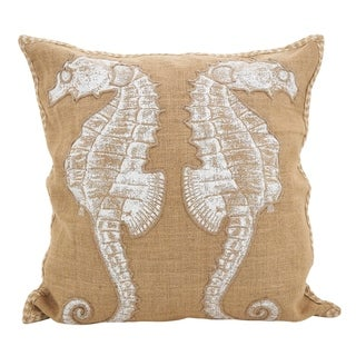 Seahorse Down Filled JuteThrow Pillow