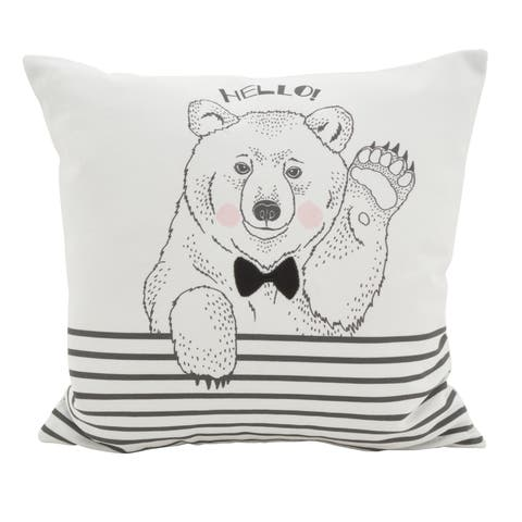 Hello Bear Statement Poly Filled Throw Pillow