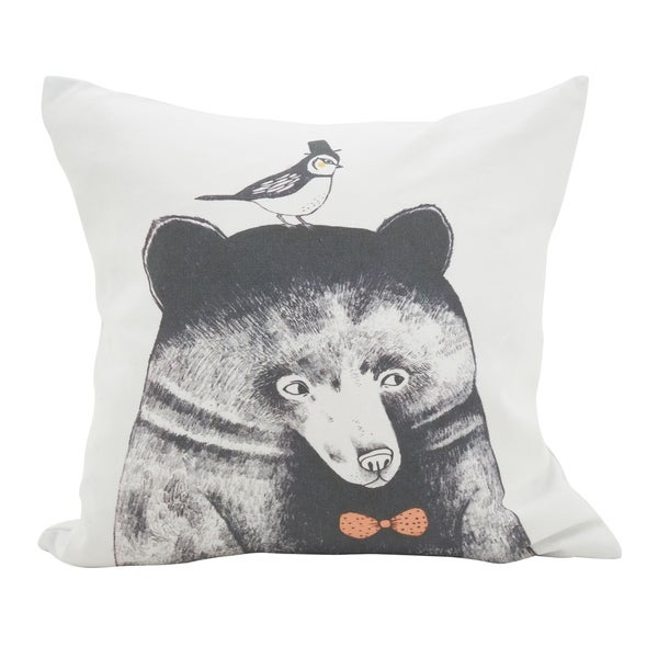 Bowtie Bear & Bird Throw Pillow