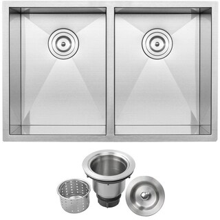 "Ticor 29"" 16-Gauge Stainless Steel Undermount Double Basin Zero Radius Kitchen Sink"