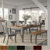 Elena Antique Grey Extendable Rectangular Dining Set - Panel Back by iNSPIRE Q Classic