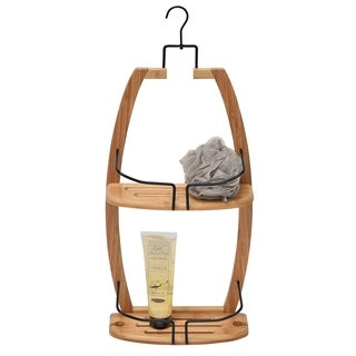 Evideco Over the Showerhead Caddy for Shampoo,Soap, Conditioner- Bamboo-Black Wire Metal