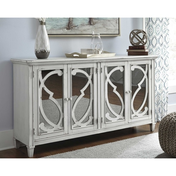 Mirimyn Antique White Vintage Casual Accent Cabinet
