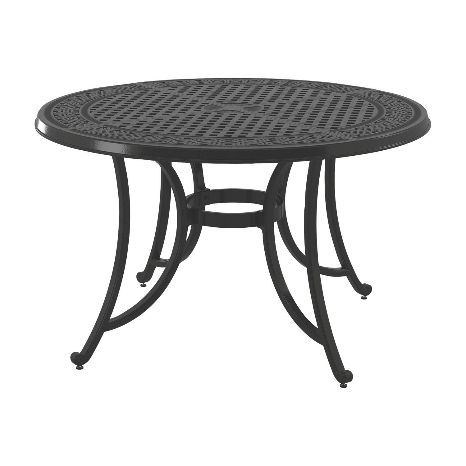 Signature Design By Ashley Burnella Brown Outdoor Round Dining Table With Umbrella Option