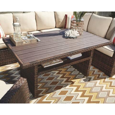 Salceda Outdoor Dining Coffee Wicker Table - Brown