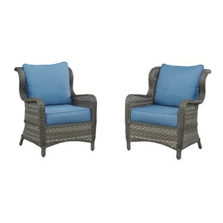 Abbots Court Blue and Gray Outdoor Lounge Chairs