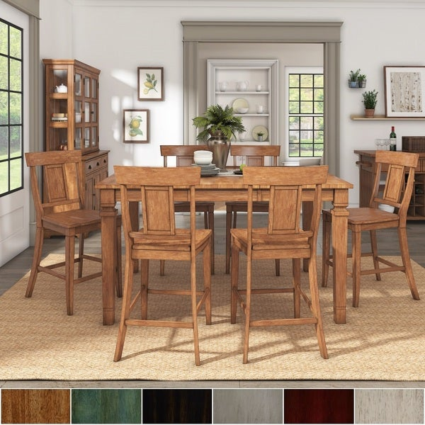 Elena Oak Extendable Counter Height Dining Set with Panel Back Chairs by iNSPIRE Q Classic. Opens flyout.