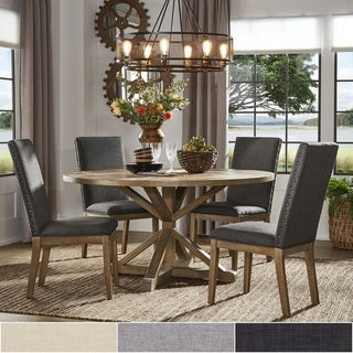 Link to Benchwright Rustic X-Base Round Pine Wood Dining Set with Nail Head Chairs by iNSPIRE Q Artisan Similar Items in Dining Room & Bar Furniture
