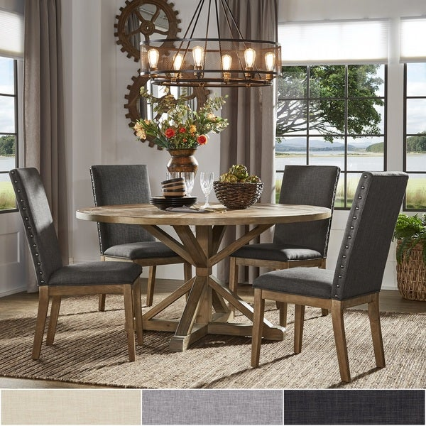 Shop Benchwright Rustic X Base Round Pine Wood Dining Set