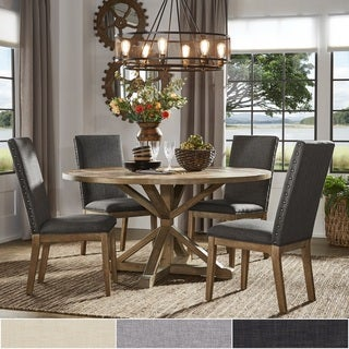 Benchwright Rustic X Base Round Pine Wood Dining Set With Nail Head Chairs  By INSPIRE