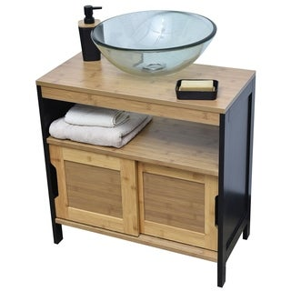 Evideco Non Pedestal Under Sink Storage Vanity Cabinet Phuket Bamboo and Black