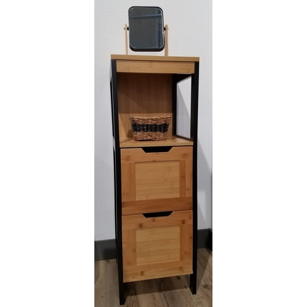 Evideco Freestanding Bathroom Floor Storage Cabinet Phuket 2 Drawers 2  Shelves Black And Bamboo