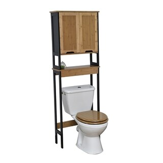 Evideco Free Standing Phuket Over The Toilet Space Saver Cabinet Black and Bamboo