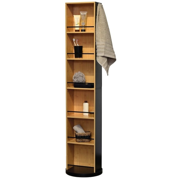 Swivel Storage Cabinet Organizer Freestanding Linen Tower Mirror Et Black And Bamboo