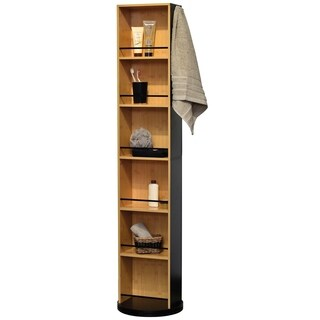 Swivel Storage Cabinet Organizer Freestanding Linen Tower Mirror Phuket Black and Bamboo