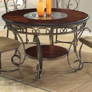 Home Source Dani Expresso Table with Glass Inset - metal, glass