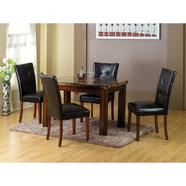 Shop Sierra Faux Marble Dining Table With Mahogany Legs