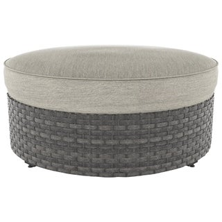 Signature Design by Ashley Spring Dew Gray Outdoor Ottoman
