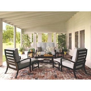 Signature Design by Ashley Castle Island Gray Outdoor Loveseat Glider