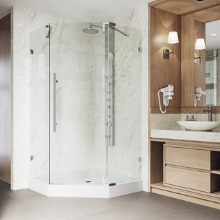 VIGO Ontario Chrome Frameless 36-inch Neo-Angle Shower Enclosure and Base
