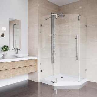 VIGO Ontario Stainless Steel Frameless 42-inch Neo-Angle Shower Enclosure and Low-Profile Base
