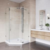 VIGO Ontario Stainless Steel Frameless 36-inch Neo-Angle Shower Enclosure and Low-Profile Base