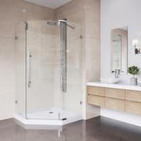 VIGO Ontario Chrome Frameless 36-inch Neo-Angle Shower Enclosure and Low-Profile Base