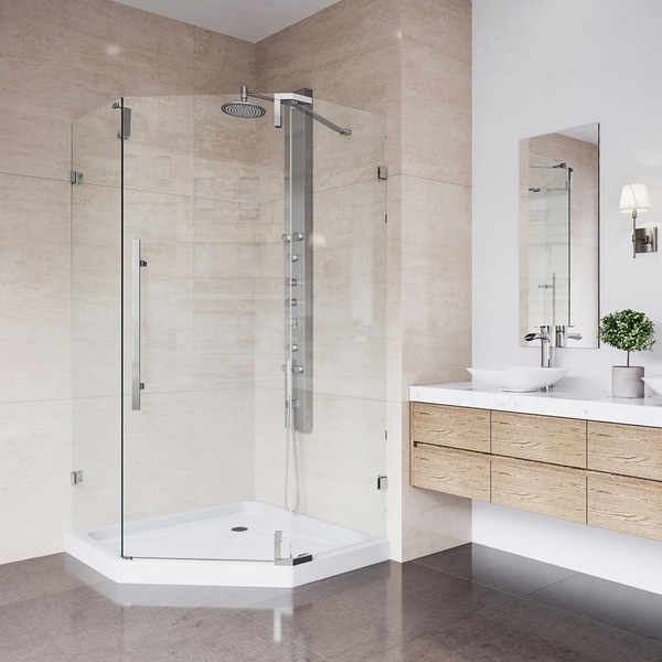 VIGO Ontario Chrome Frameless 36 Inch Neo Angle Shower Enclosure And  Low Profile