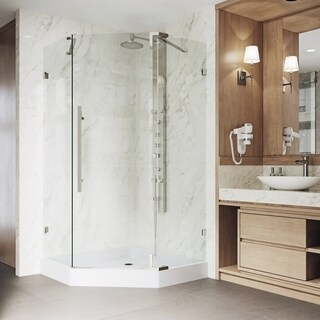 VIGO Ontario Stainless Steel Frameless 42-inch Neo-Angle Shower Enclosure and Base