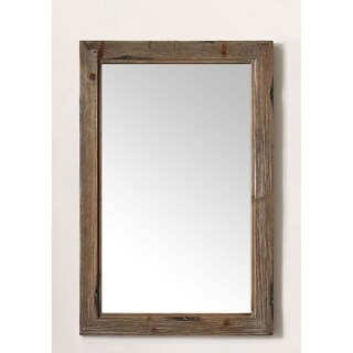 24 in. Framed Wall Mirror in Brown