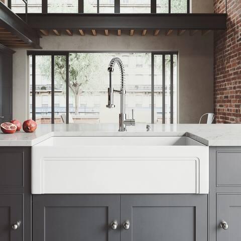 VIGO Casement Front Matte Stone Kitchen Sink Set with Edison Faucet
