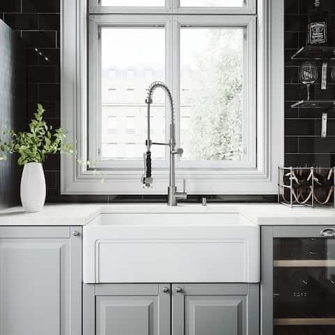 VIGO White Kitchen Sink Set with Zurich Stainless Steel Faucet