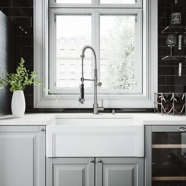 Vigo White Kitchen Sink Set With Zurich Stainless Steel Faucet Overstock Com Shopping The Best Deals On Sink Faucet Sets 26430642