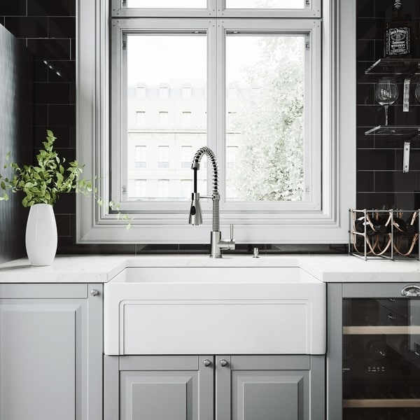 VIGO White Kitchen Sink Set with Brant Stainless Steel Faucet