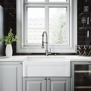 """VIGO All-In-One 30"""" Casement Front Matte Stone Farmhouse Kitchen Sink Set With Edison Stainless Steel Faucet"""