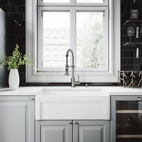 VIGO White Farmhouse Kitchen Sink Set with Edison Faucet