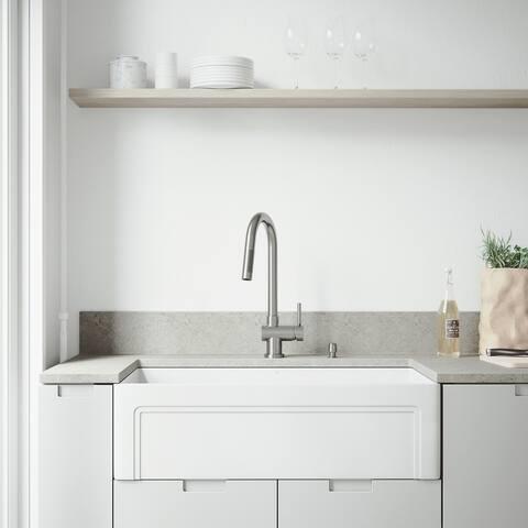 VIGO White Farmhouse Kitchen Sink Set with Gramercy Matte Black Faucet