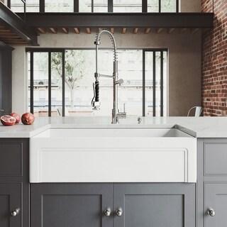 VIGO Casement Front Matte Stone Kitchen Sink Set with Zurich Faucet