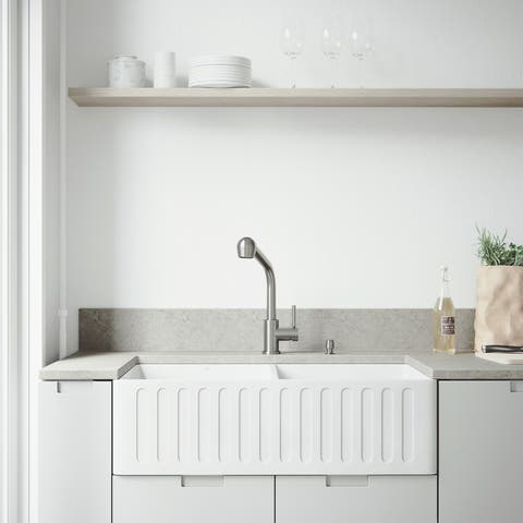 VIGO White Double Bowl Farmhouse Kitchen Sink Set with Avondale Faucet