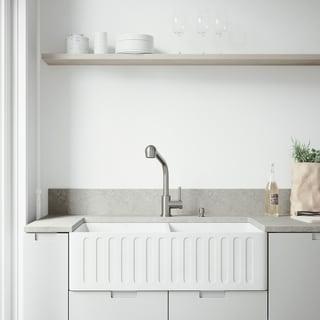 VIGO White Double Bowl Farmhouse Kitchen Sink Set with Avondale Faucet