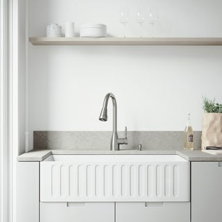 VIGO 36-inch Matte Stone Farmhouse Kitchen Sink Set with Graham Faucet