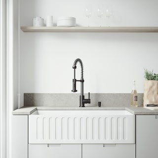VIGO White Farmhouse Kitchen Sink Set with Edison Matte Black Faucet