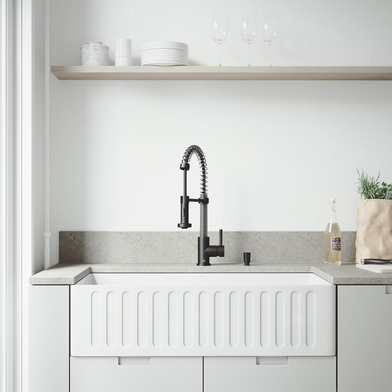 VIGO White Farmhouse Kitchen Sink Set with Edison Matte Black Faucet