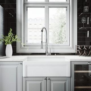 VIGO White Farmhouse Kitchen Sink Set with Laurelton Chrome Faucet