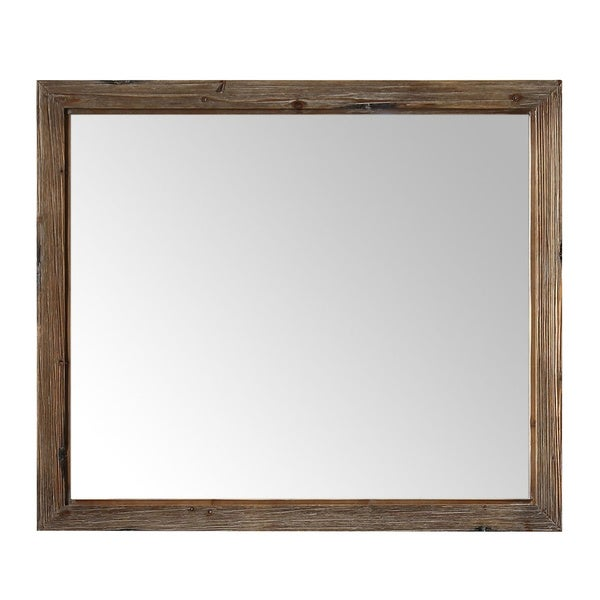 42 in. Framed Wall Mirror in Brown