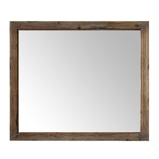 42 in. Framed Wall Mirror in Brown